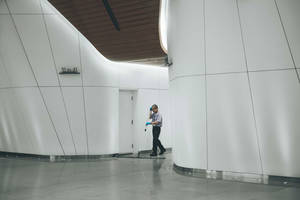 Person janitor cleaner cleaning wall 13468