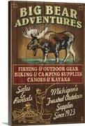 Big bear adventures moose vintage sign retro travel poster 2191468