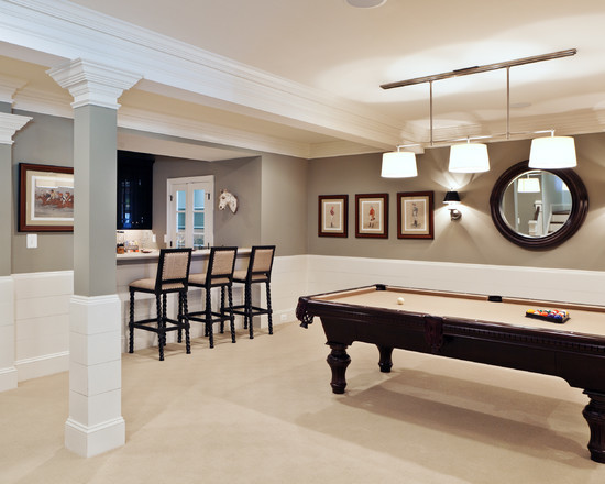 transitional-basement-remodeling-pictures-with-grey-also-white-wall-paint-color-also-classic-bar-design-with-classic-black-wooden-bar-stool-with-beige-fabrics-color-and-be