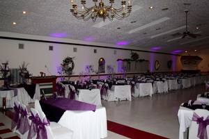 Banquet hall wedding head table view