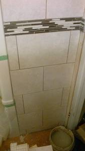 Bathroom reno   ceramic tile  wall  installing issues (4)