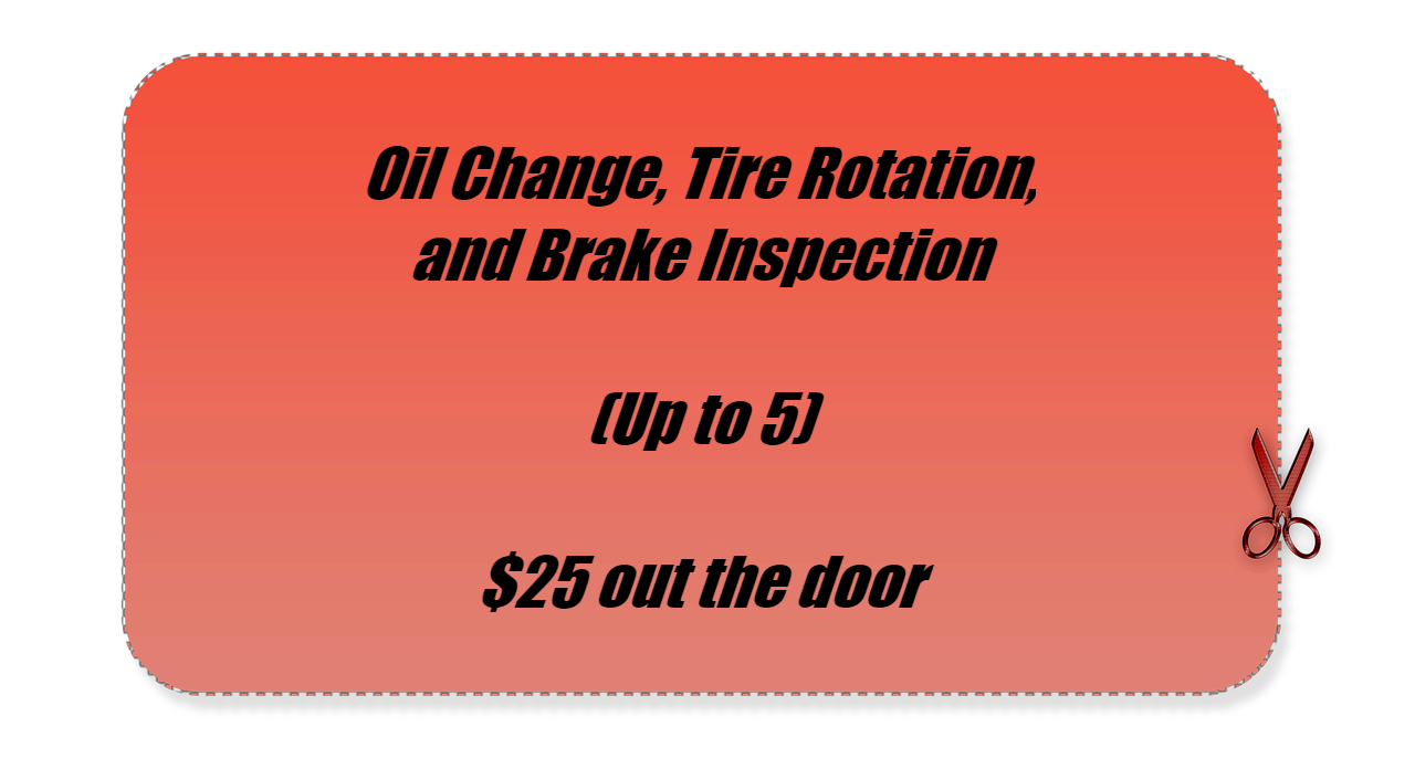 Oil Change, Tire Rotation, Brake Inspection