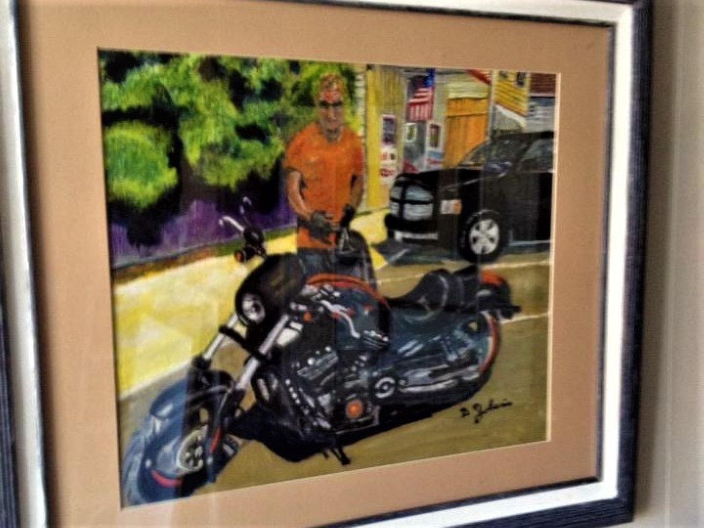 Mike_and_his_Bike_Portrait_Framed__Watercolor_Painting