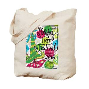 Holiday tree fest canvas tote