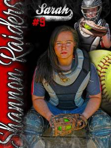 Sarah   shannon softball banner with red