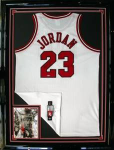 Mj signed  framed jersey w photo 640
