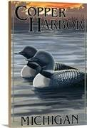 Copper harbor michigan loon family retro travel poster 2191495