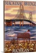 Mackinac bridge and sunset michigan retro travel poster 2191566