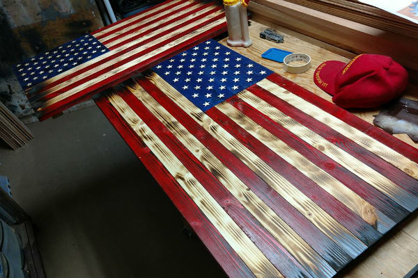 Rustic Wooden American Flag Carving