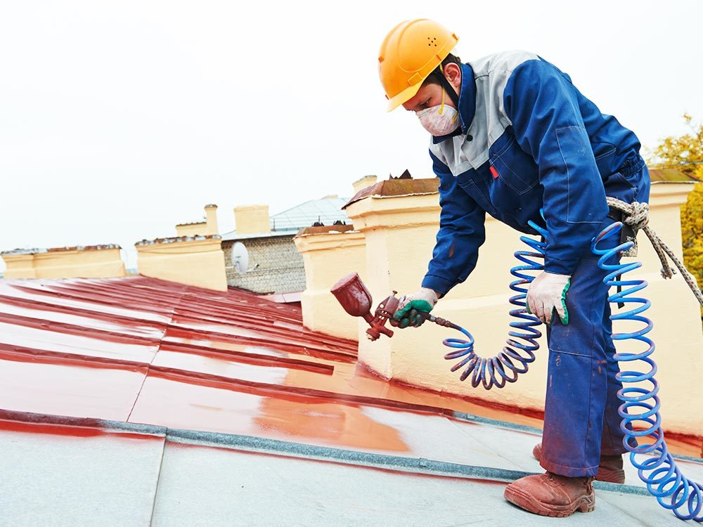 Painting steel roof red