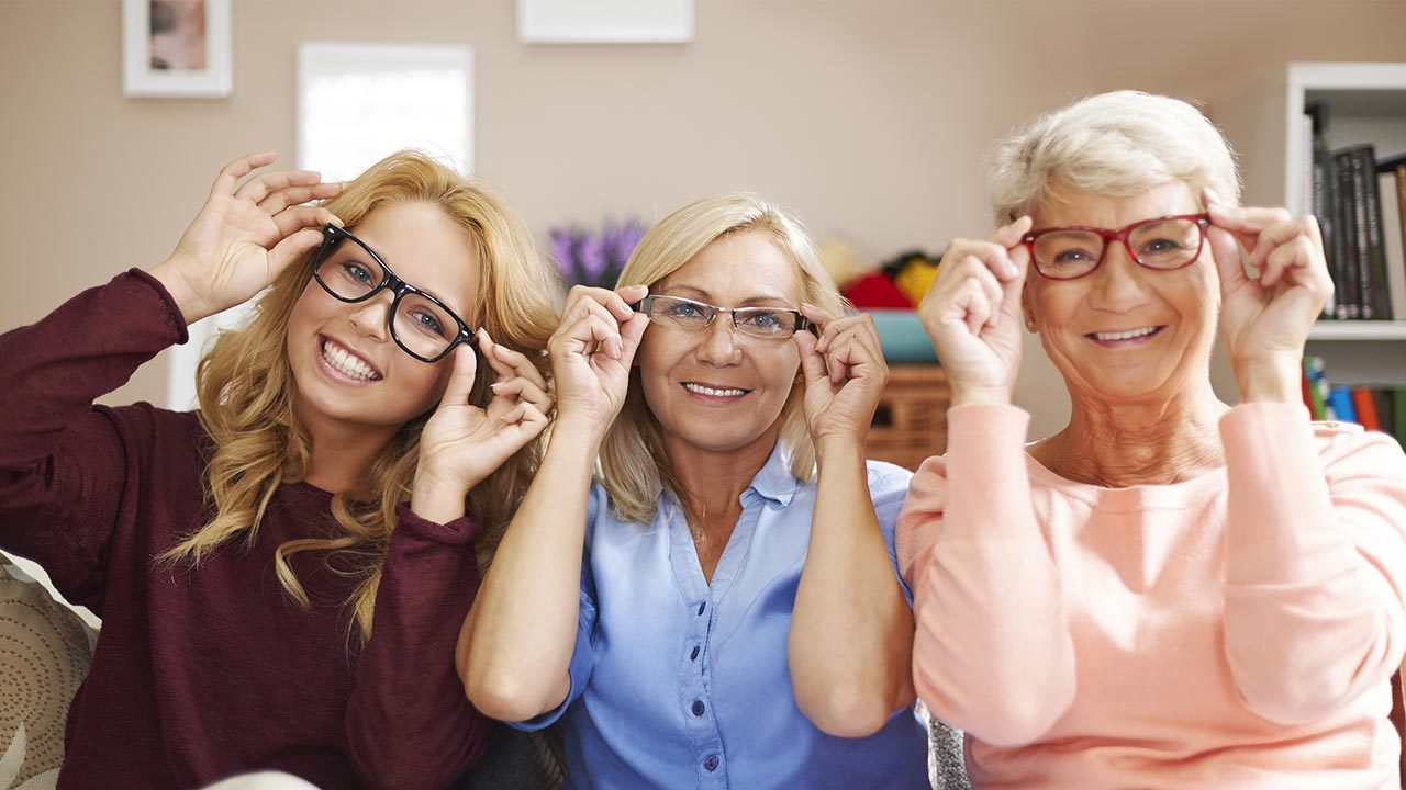 Generations wearing glasses