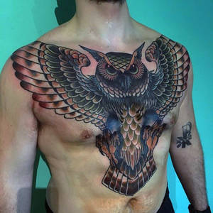 Amazing mens full chest traditional owl tattoos