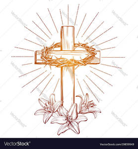 Crown of thorns wooden cross and floral blooming vector 19859949