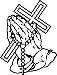 Original 4175 praying hands30 with cross and rosary photo