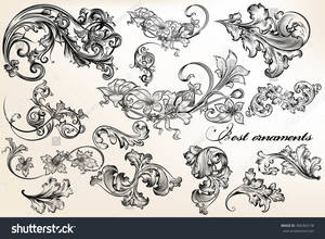 Stock vector a collection or set of beautiful vector ornaments in victorian vintage style filigree drawings 406383178lg