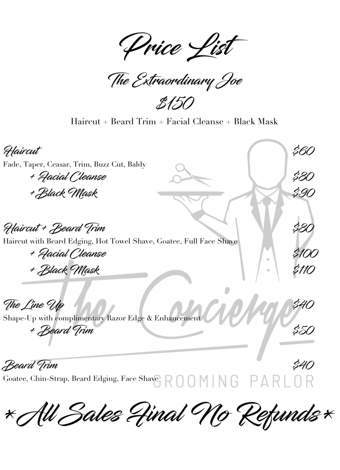 The concierge grooming parlor - prices