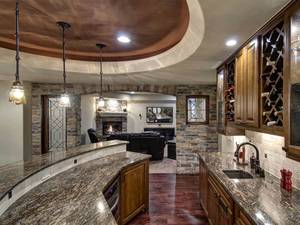 Basement wet bar marble countertop
