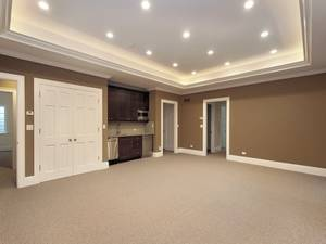 Ideas inspiration inspirational grey finished basement colors wall in large basement living room added grey full area rugs feat white built in closet cabinet door designs