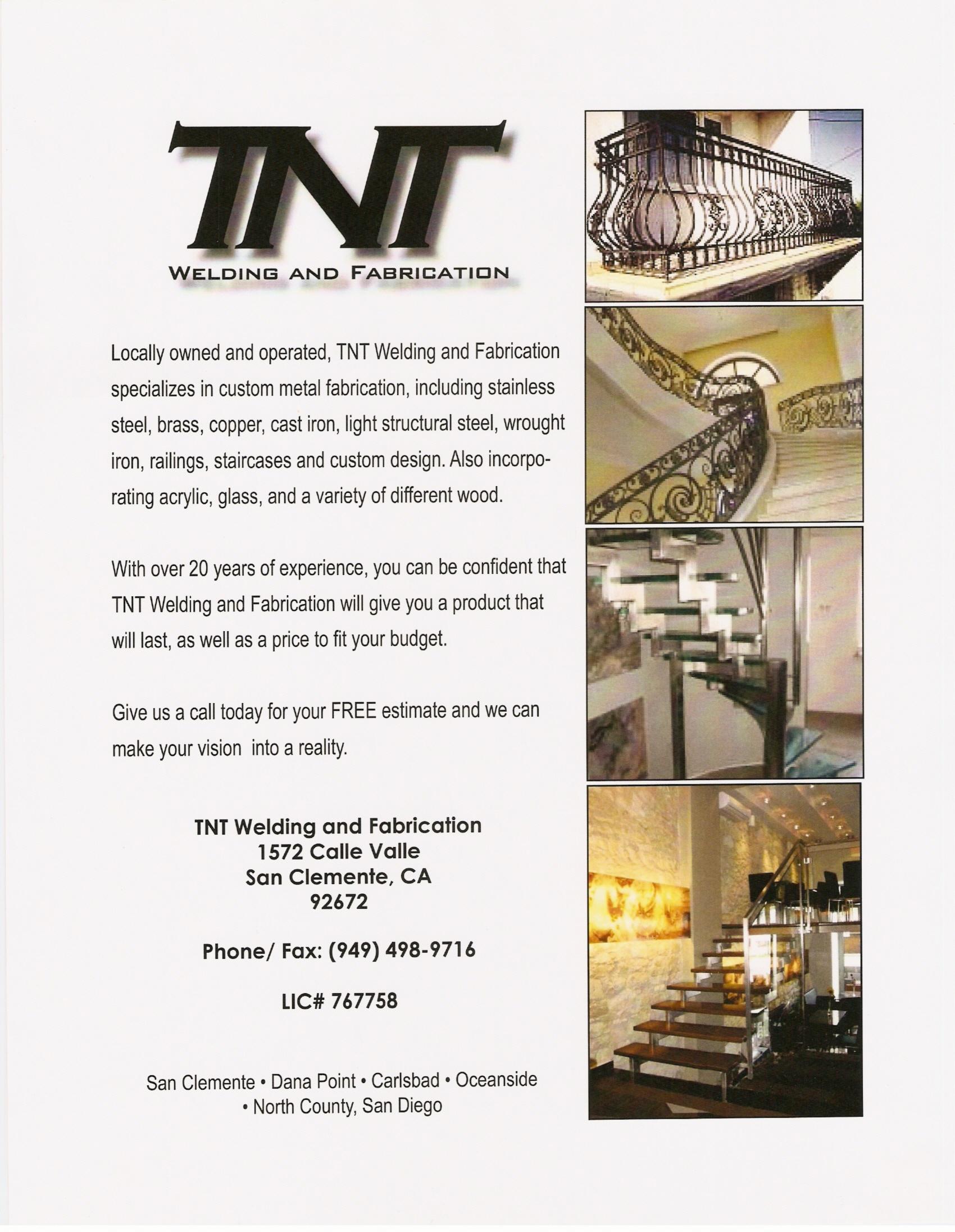 Welding Fabrication in San Clemente, CA | TNT Welding